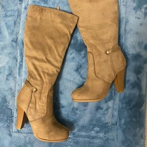 Tan / Taupe/ Light Brown Faux Suede heel Boots